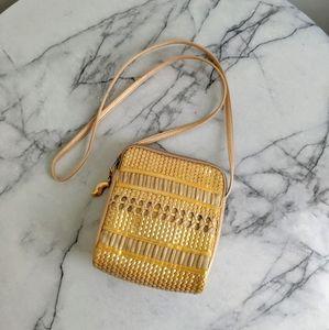 vintage 90's woven leather crossbody mini bag
